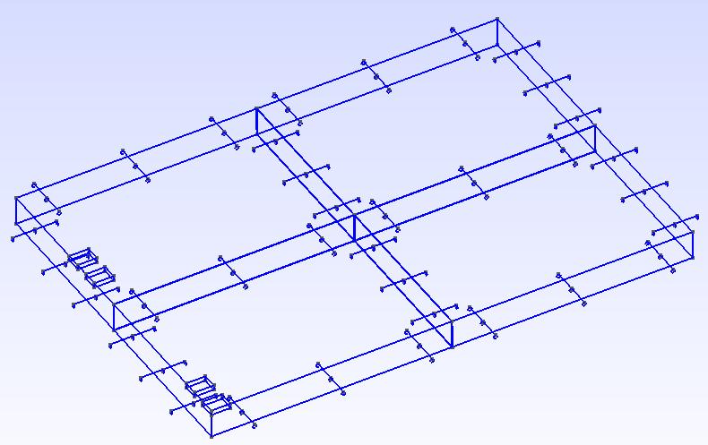 Darstellung eines 2x2-Platten-Modells mit Dübeln und Ankern in GMSH.